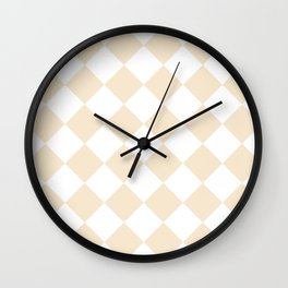 Large Diamonds - White and Champagne Orange Wall Clock