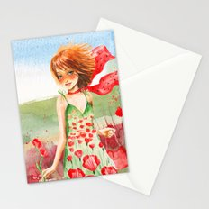 Poppy Girl in Poppies Summer Field Stationery Cards