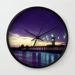 H.B. Pier Sunset 1983 Wall Clock