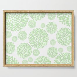 Abstract Flower Medallion Spring/Summer Muted Green and White Serving Tray