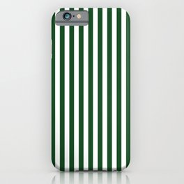 Original Forest Green and White Rustic Vertical Tent Stripes iPhone Case