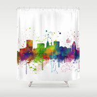 baltimore Shower Curtains featuring Baltimore Skyline by Marlene Watson