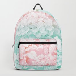 Modern white pink teal ombre hortensia floral Backpack
