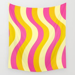 Pink and Gold Waves Wall Tapestry