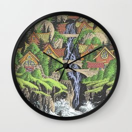 SEASIDE VILLAGE WATERFALL REVISITED COLORED PEN DRAWING Wall Clock