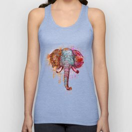 Watercolor Elephant Head Unisex Tank Top
