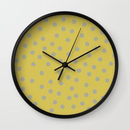 Simply Dots Retro Gray on Mod Yellow Wall Clock