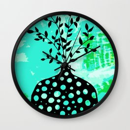 Plant in vase with dots Wall Clock