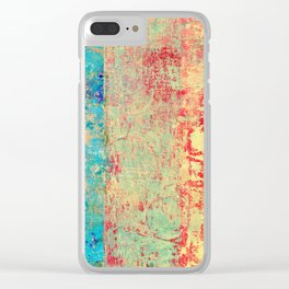 Brilliant Encounter, Abstract Art Turquoise Red Clear iPhone Case