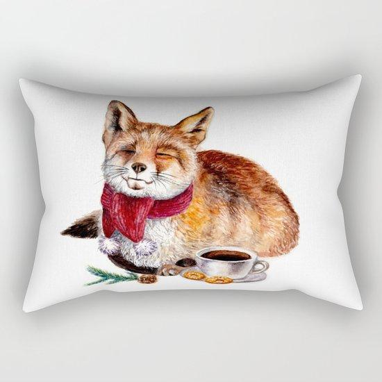 Coffee Fox Rectangular Pillow