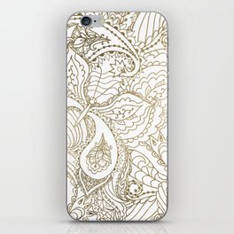 Elegant hand drawn white faux gold luxury floral iPhone Skin