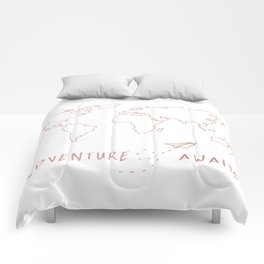 Adventure Map in Rose Gold Comforters