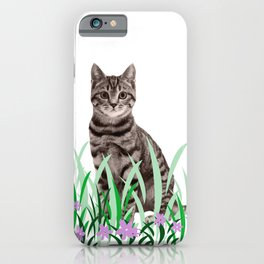 Tiger Cat green Grass with flower iPhone Case