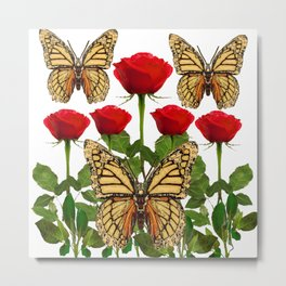 RED ROSES  & MONARCH BUTTERFLIES ART Metal Print