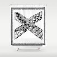 xmen Shower Curtains featuring Zentangle X Monogram Alphabet Illustration by Vermont Greetings