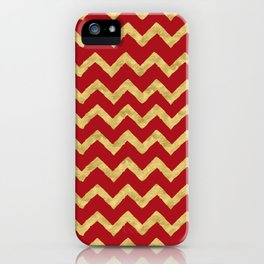 Chevron Red Gold iPhone Case