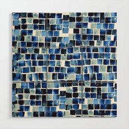 Indigo Blue Watercolor Check Wood Wall Art