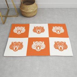 Orange and White Nine Tiger Cares Rug
