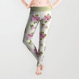 Elegant pink lavender green watercolor floral swirls pattern Leggings