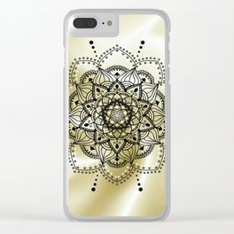 Gold and black mandala Clear iPhone Case