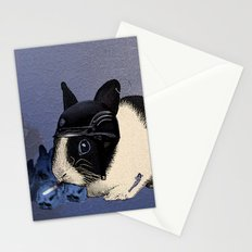 Blue Biker Bunny Print Stationery Cards