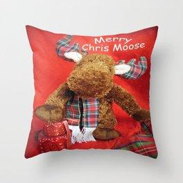 Merry Chris Moose Throw Pillow