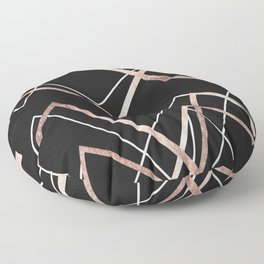 Rose Gold Black Linear Triangle Abstract Pattern Floor Pillow