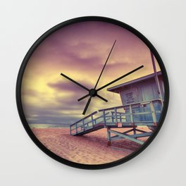 Lifeguard tower at sunset at Hermosa Beach, California Wall Clock
