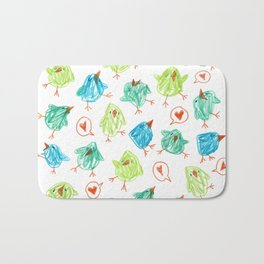 Scribble Birds Bath Mat