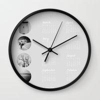 calendar Wall Clocks featuring 2013 Calendar by Amy Paterson