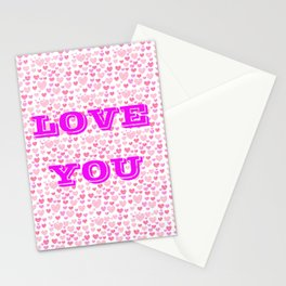 Love you pink Stationery Cards