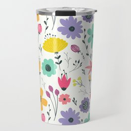 Colorful orange purple modern abstract floral illustration Travel Mug