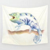 chameleon Wall Tapestries featuring chameleon by StraySheep
