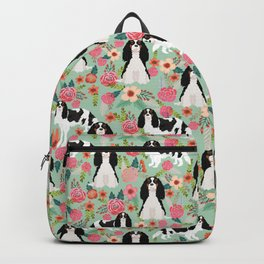 Cavalier King Charles Spaniel floral flowers dog breed pattern dogs mint Backpack
