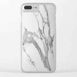 White Marble With Silver-Grey Veins Clear iPhone Case
