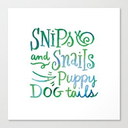 Watercolor Snips and Snails Canvas Print
