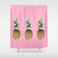 pineapples Shower Curtains featuring Pineapples by Yilan