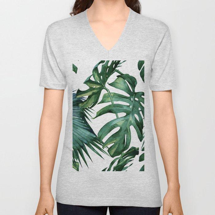 Simply Island Palm Leaves Unisex V-Neck