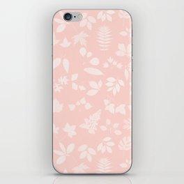 Pink Coral Floral Leaves iPhone Skin