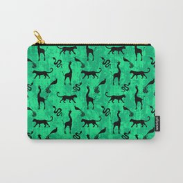 Animal kingdom. Black silhouettes of wild animals. African giraffes, leopards, cheetahs. snakes, exotic tropical birds. Tribal primitive ethnic nature green grunge distressed pattern. Carry-All Pouch