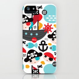 Cute kids pirate ship and parrot illustration pattern iPhone Case