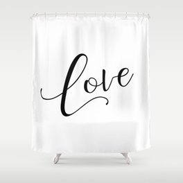 Love in black and white Shower Curtain