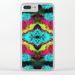 psychedelic graffiti geometric drawing abstract in blue pink yellow Clear iPhone Case