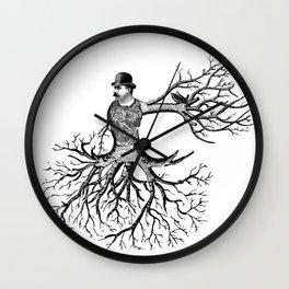 Black & White - Victorian Tatooed Tree Man Wall Clock