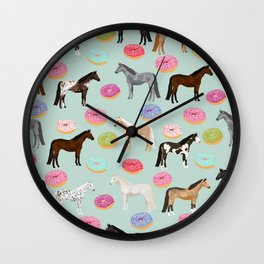 Horses Donuts - horse, donut, pastel, food, horse blanket, horse bedding, dorm, cute design Wall Clock