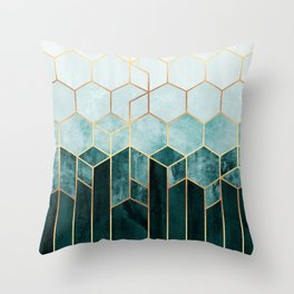 Teal Hexagons Throw Pillow