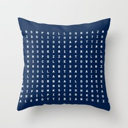 Letters on blue background Throw Pillow