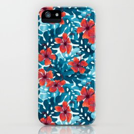 Tropical Hibiscus Pattern Red iPhone Case