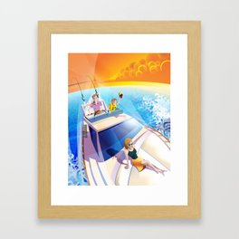 FAMILY ON YACHT Framed Art Print