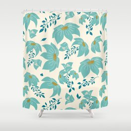 Turquoise blue flowers Shower Curtain